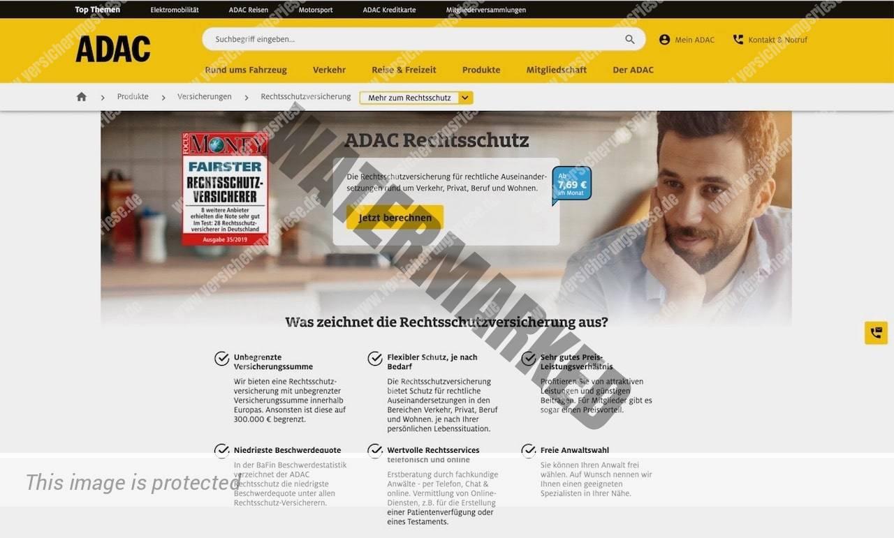 Screenshot der ADAC Rechtsschutzversicherung Webseite