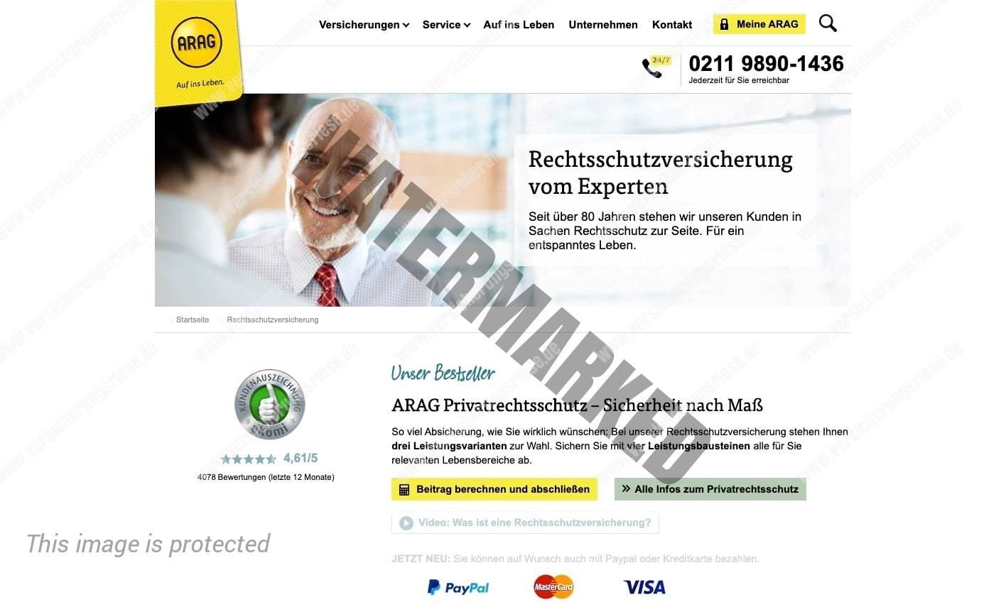 ARAG Rechtsschutzversicherung Webseite Screenshot