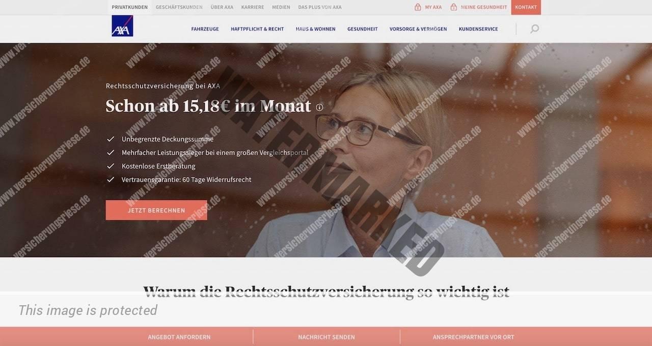 Webseite der AXA Rechtsschutzversicherung