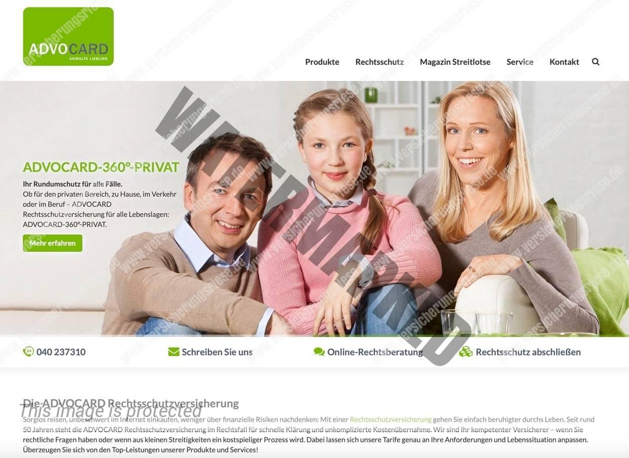 Webseite der Advocard Rechtsschutzversicherung
