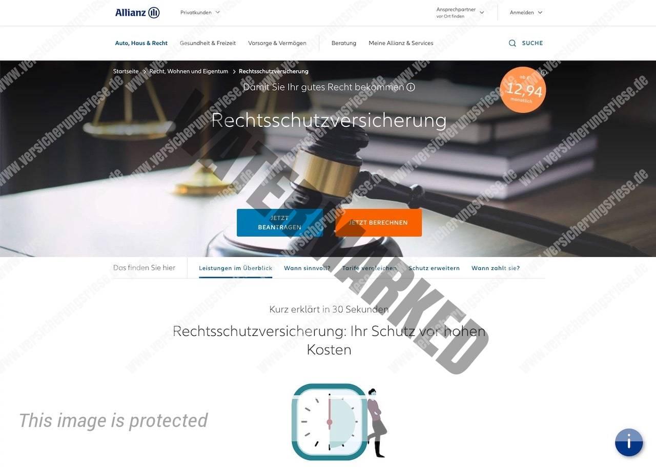 Allianz Rechtsschutzversicherung Webseite Screenshot