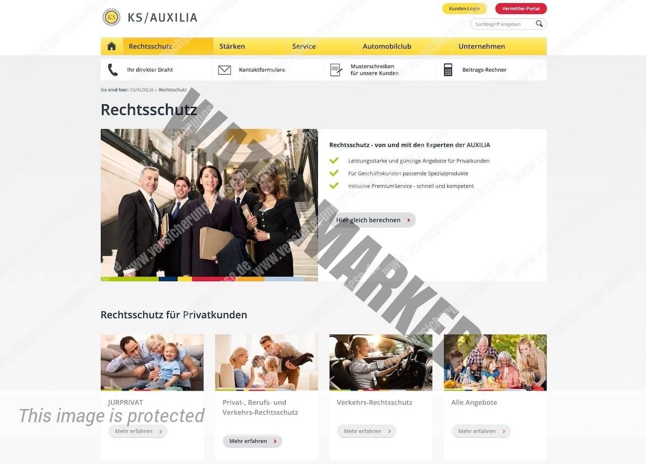 Webseite der Auxilia Rechtsschutzversicherung
