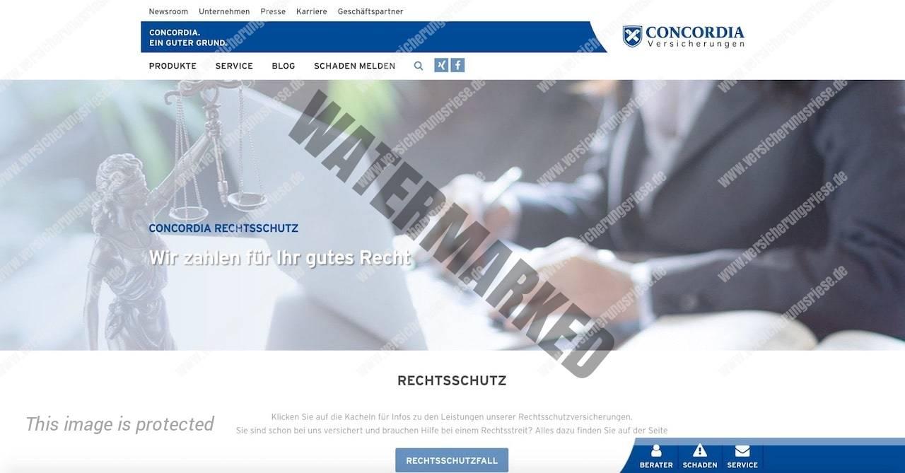 Webseite der Concordia Rechtsschutzversicherung