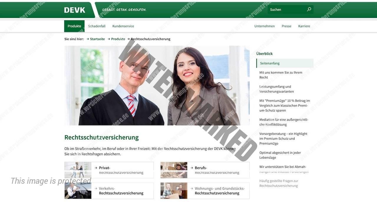 Webseite der DEVK Rechtsschutzversicherung