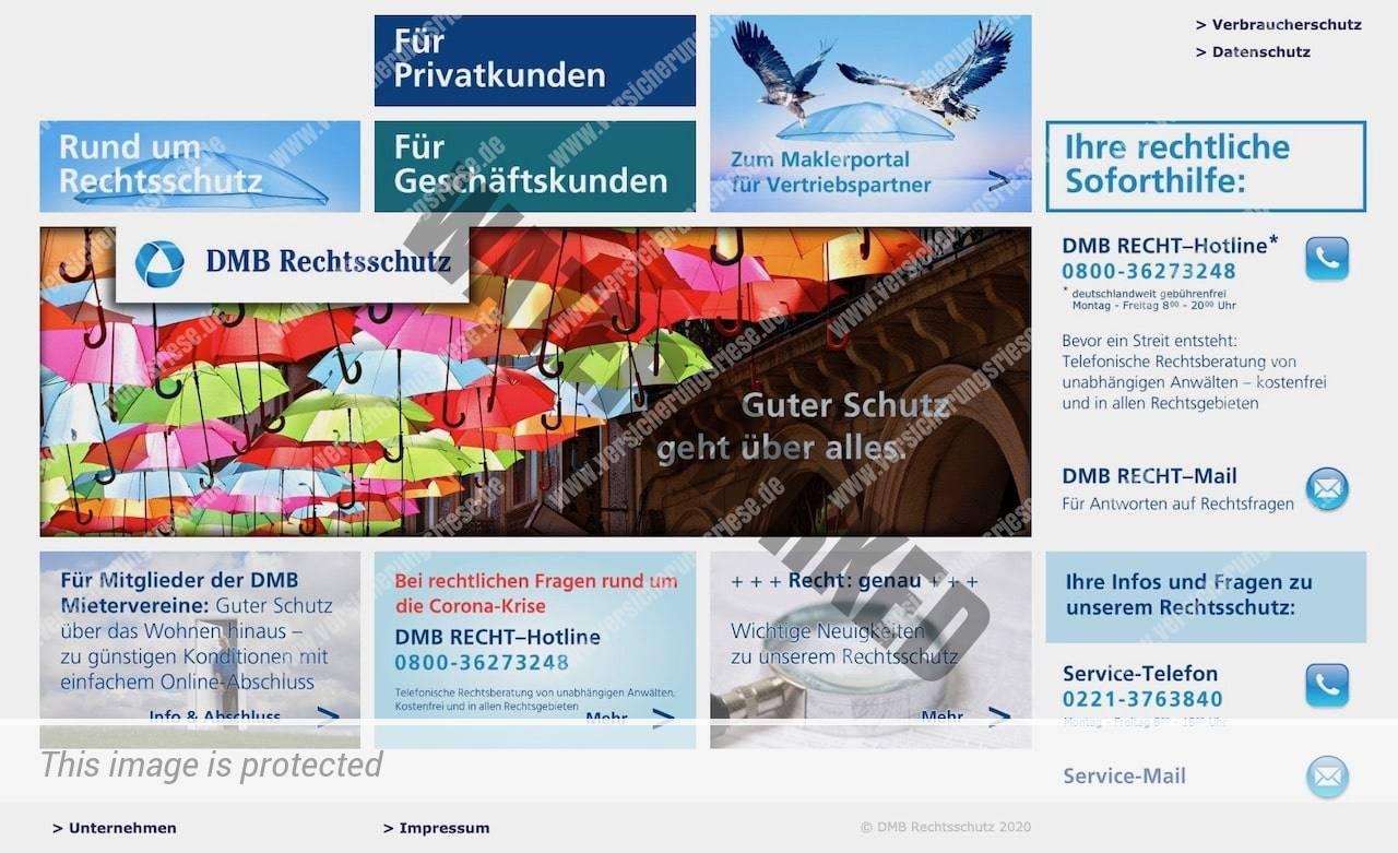 Webseite der DMB Rechtsschutzversicherung