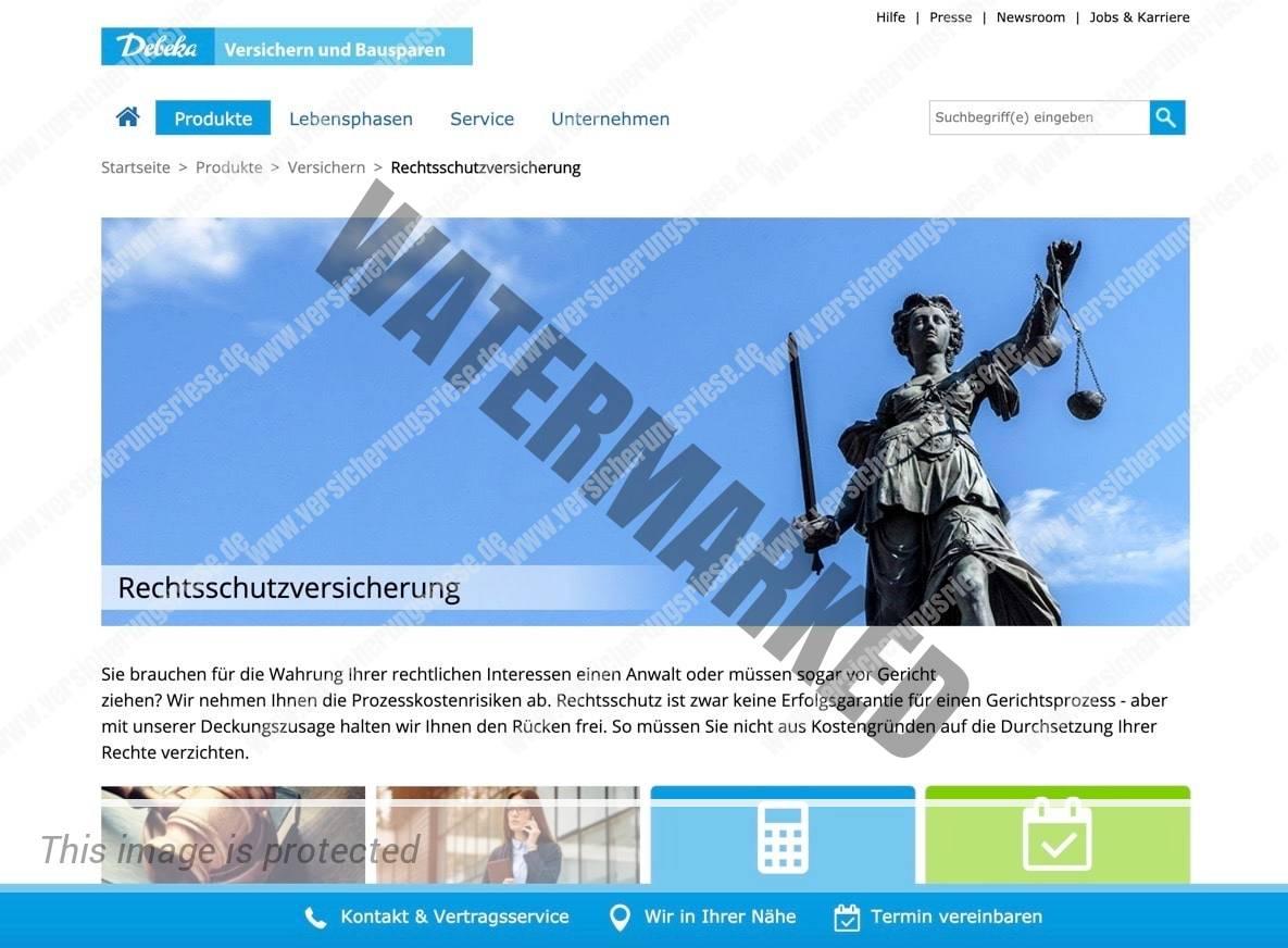 Webseite der Debeka Rechtsschutzversicherung