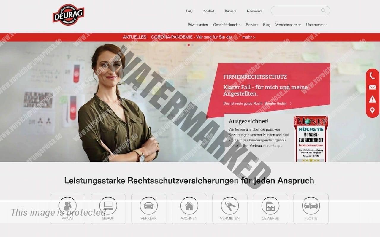 Webseite der Deurag Rechtsschutzversicherung