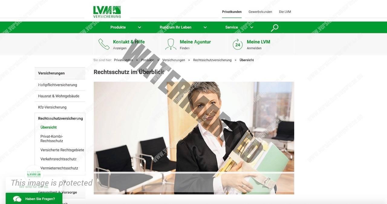 Screenshot der LVM Rechtsschutzversicherung Webseite