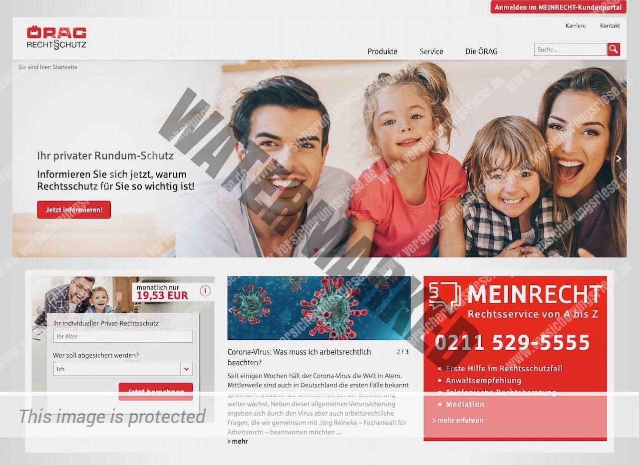Örag Rechtsschutzversicherung Webseite Screenshot