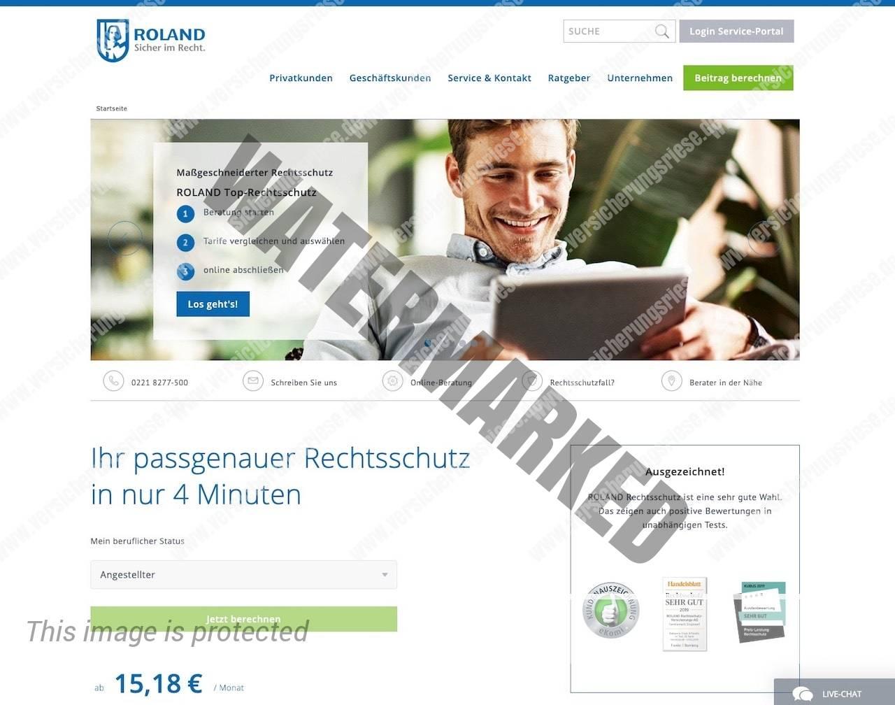 Roland Rechtsschutzversicherung Webseite Screenshot