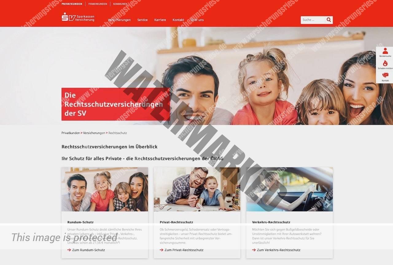 Webseite der Sparkasse SV Rechtsschutzversicherung