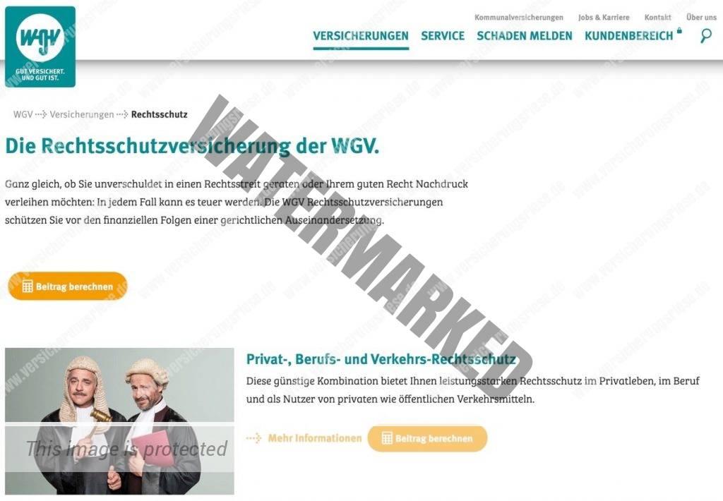 Webseite der WGV Rechtsschutzversicherung