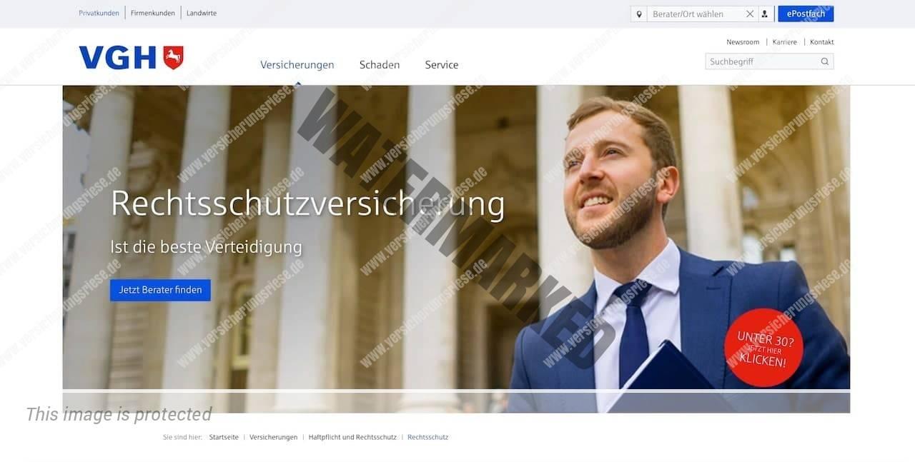 Webseite der VGH Rechtsschutzversicherung