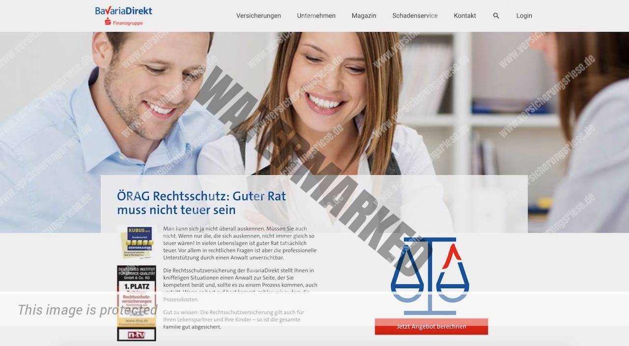 Webseite der Bavaria Direkt Rechtsschutzversicherung
