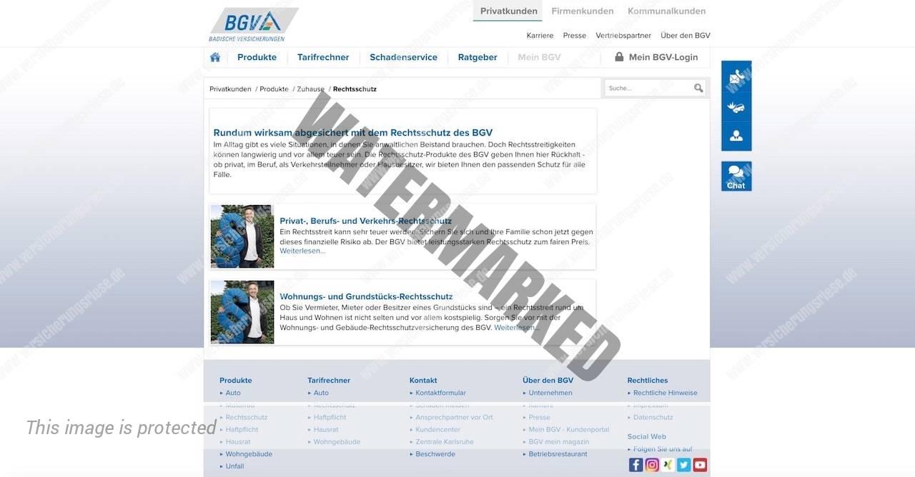 Webseite der BGV Badischen Rechtsschutzversicherung