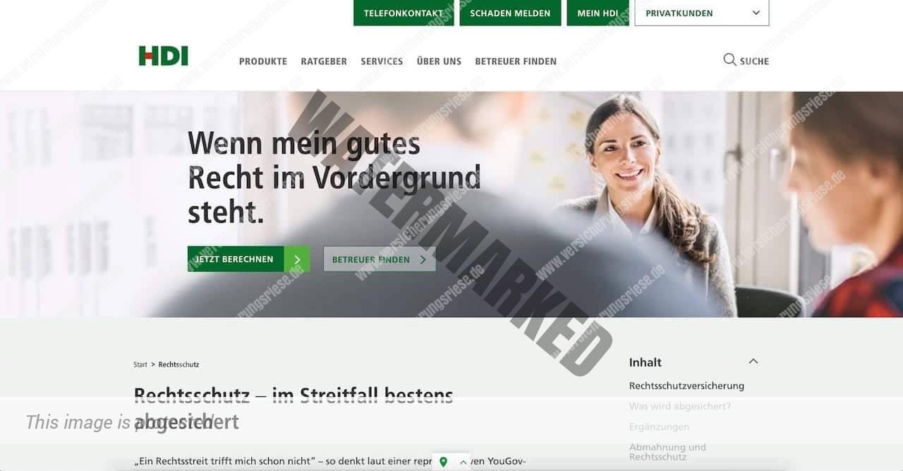 Webseite der HDI Rechtsschutzversicherung
