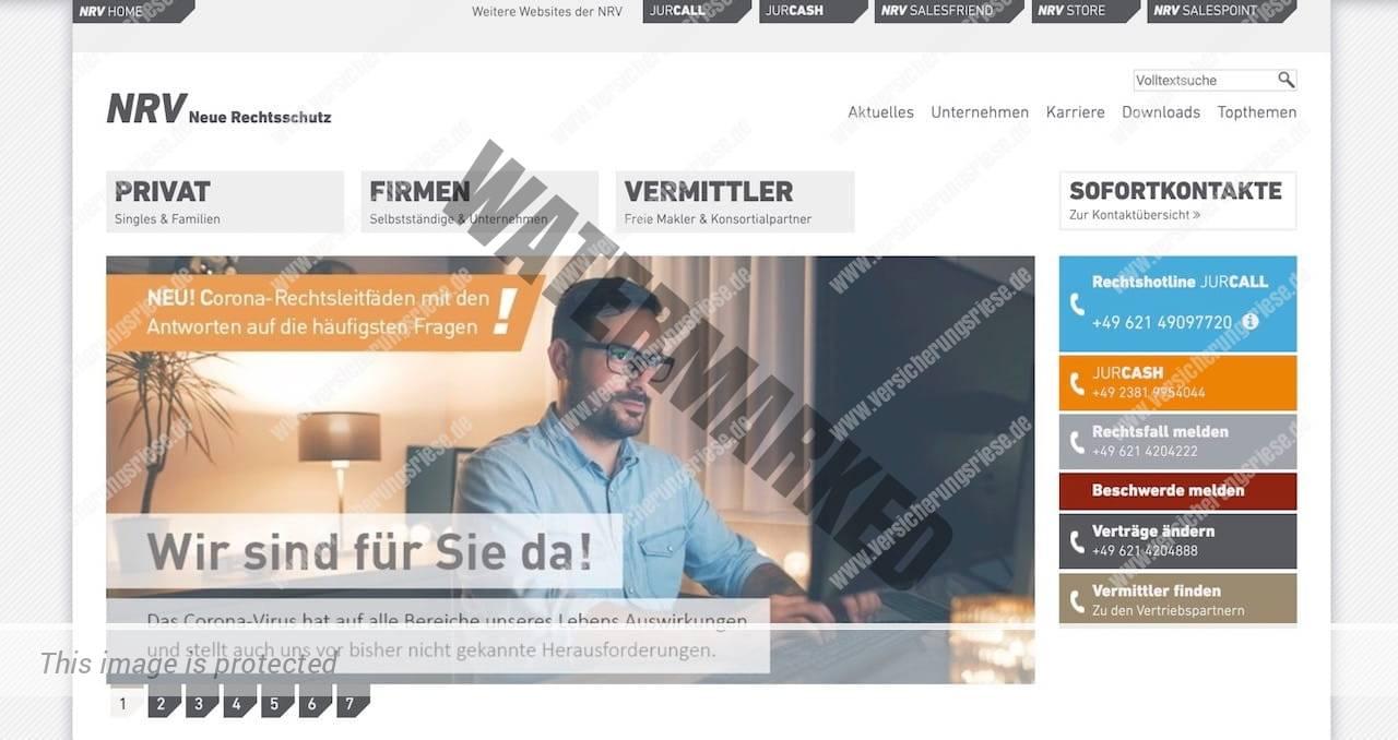 Webseite der NRV Rechtsschutzversicherung