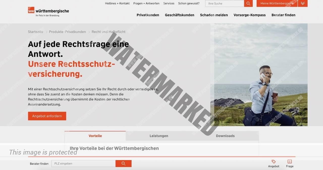 Webseite der Württembergische Rechtsschutzversicherung