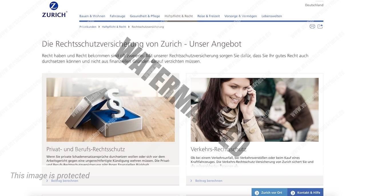 Webseite der Zurich Rechtsschutzversicherung