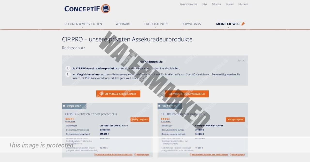 Webseite der ConceprIF Rechtsschutzversicherung