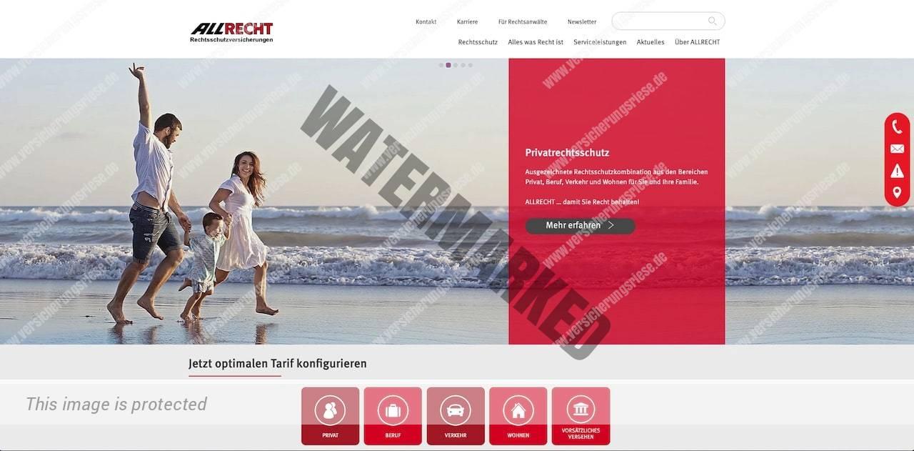 Webseite der Allrecht Rechtsschutzversicherung