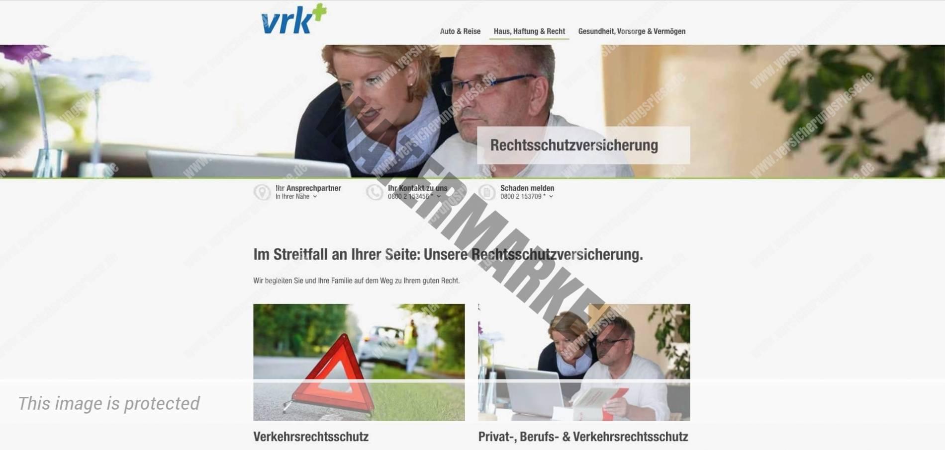 Webseite der Bruderhilfe (VRK) Rechtsschutzversicherung