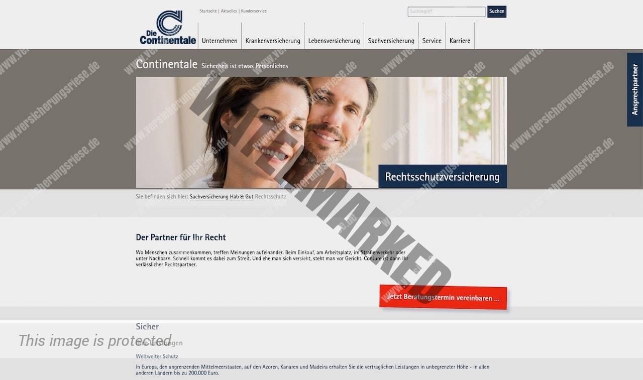 Webseite der Continentale Rechtsschutzversicherung