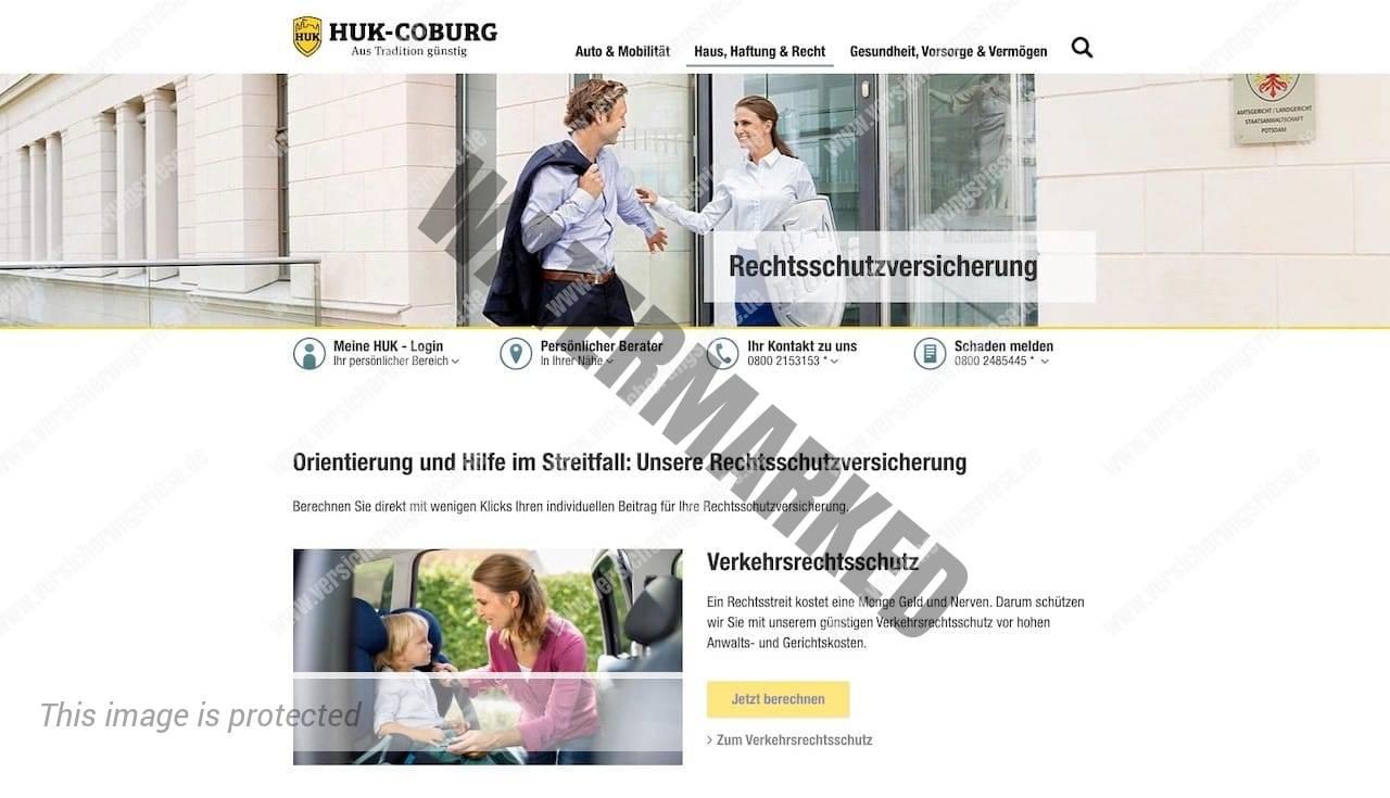 Webseite der HUK-Coburg Rechtsschutzversicherung