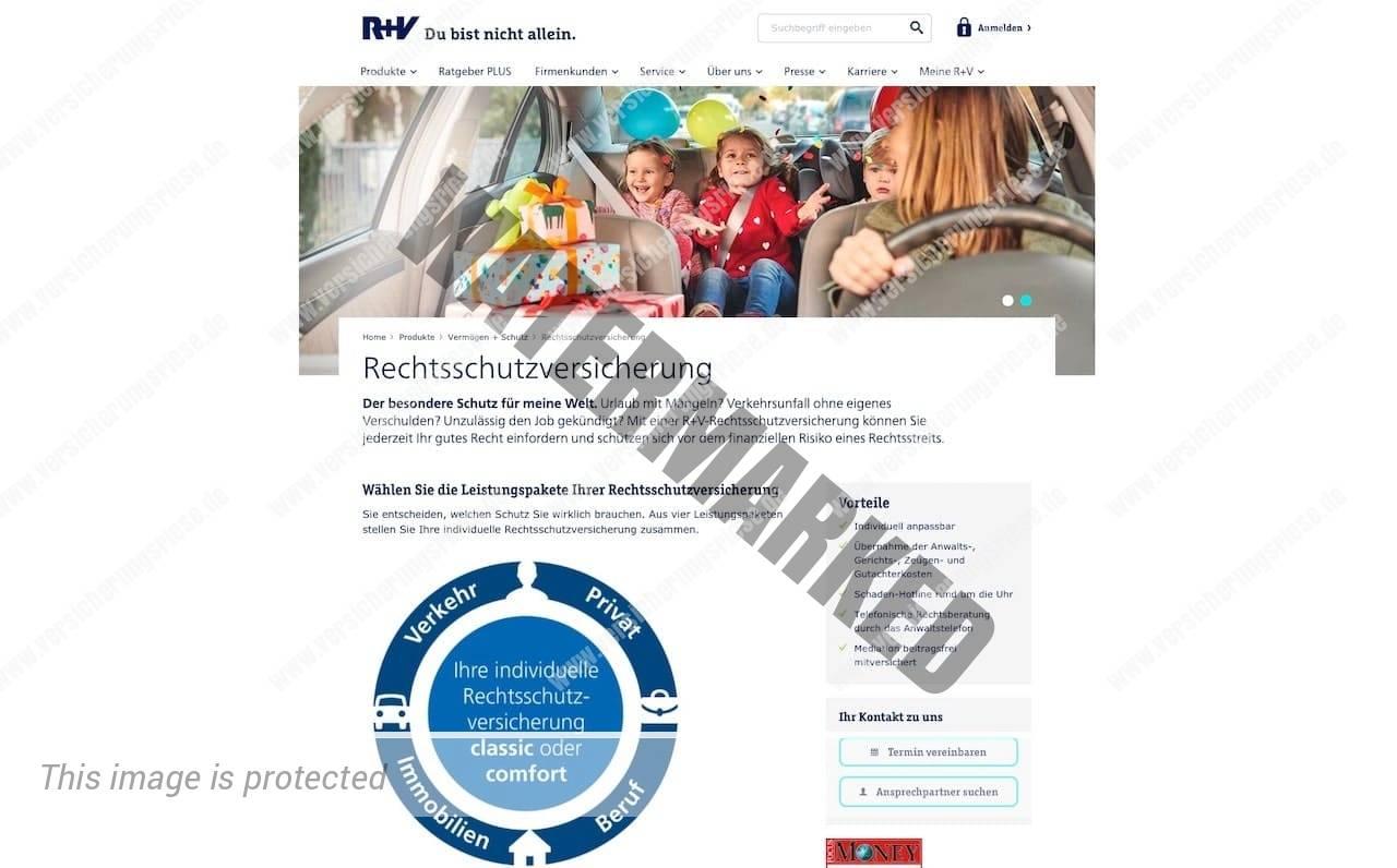 Webseite der R+V Rechtsschutzversicherung